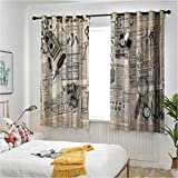 Clock Window Draperies Antique Accessories Design Old Fashion Magazine Sewing and Writing Tools Print Curtains for Bedroom/Living Room 52 inches by 120 Inch