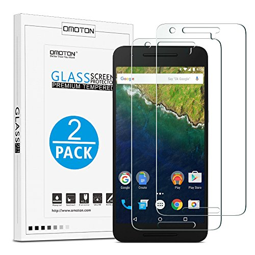 OMOTON Tempered Glass Screen Protector for Nexus 6P, 5.7-Inch,2-Pack