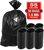 Heavy Duty Black Trash Bags - 55 Gallon 50 PK Bags for Garbage, Storage - 1.5 Mil Thick, 35'Wx55'H Industrial Grade Trash Bags for Construction, Yard Work, Commercial Use - by Tougher Goods