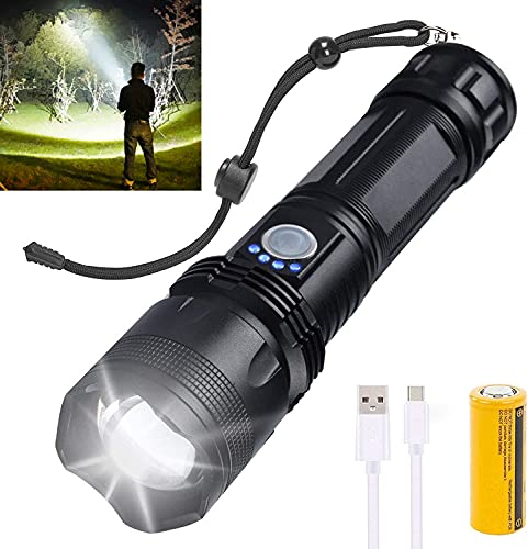 Rechargeable LED Flashlights High Lumens, 10000 Lumens Super Bright Powerful Tactical Flashlights with 26650 Batteries Included, Zoomable, 5 Modes, Waterproof Flashlight for Emergencies