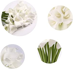 Dedoot Artificial Flowers, Pack of 20 Calla Lily Artificial Flowers for Decoration, Real Touch Flower Artificial Bouquet of Flowers for Bridal Wedding Party Home Decor, White
