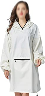 WZHZJ Women's Stylish Waterproof Rain Poncho Cloak White Raincoat with Hood Sleeves and Big Pocket on Front