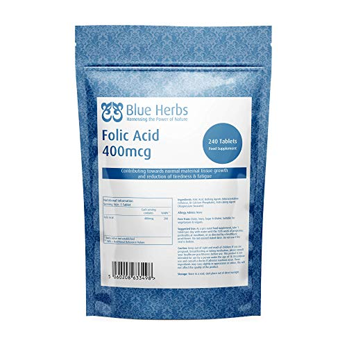 Blue Herbs Folic Acid Vitamin B9 400mcg, 240 Tablets | Pregnancy Care | Suitable for Vegans & Vegetarians