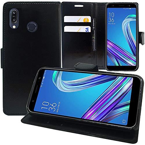 annaPrime Etui Coque Housse pour ASUS Zenfone Max Pro (M1) ZB601KL/ ZB602KL 5.99', Etui Portefeuille Support Video Cuir PU Couleur Noir