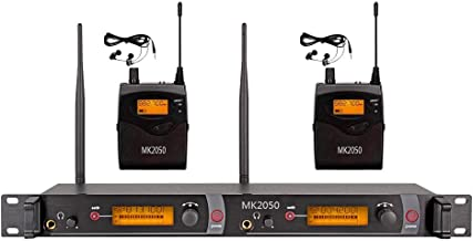 Audio UHF Wireless In Ear Monitor System MK2050 Transmitter With 2 Receivers 80 Channel Monitoring Recording Studio Stage Pro Audio Musical 572-603 MHz Three Year Free Warranty