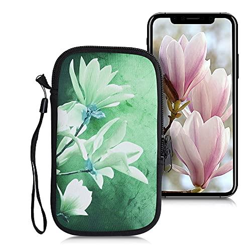 kwmobile Custodia in Neoprene con Zip per Smartphone L - 6,5  - Astuccio portacellulare a Sacchetto con Cerniera - Borsa Verticale - Magnolia Bianco Giallo Verde