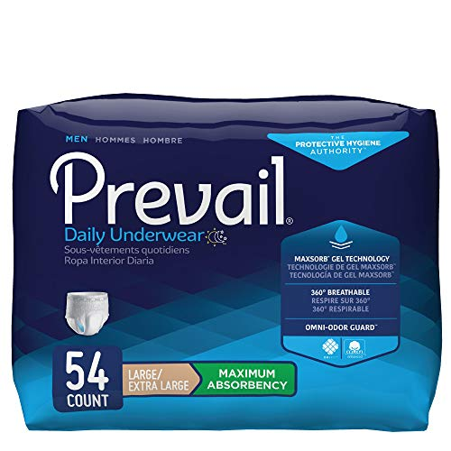 Prevail Maximum Absorbency Incontinence Underwear for Men, Large/Extra Large, 54 Count