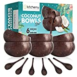 6 Coconut Bowls for Smoothie Acai Bowl - Unique Gift Natural Polished Shaped Handmade Reusable...