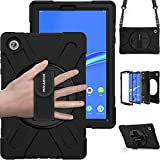 "BRAECN Case for Lenovo Tab M10 FHD Plus, Heavy Duty Rugged Shockproof Hard Case with Carrying Shoulder/Handle Hand Strap, Built-in Kickstand for Tab M10 Plus 10.3 "" Tablet TB-X606F/TB-X606X(Black)"