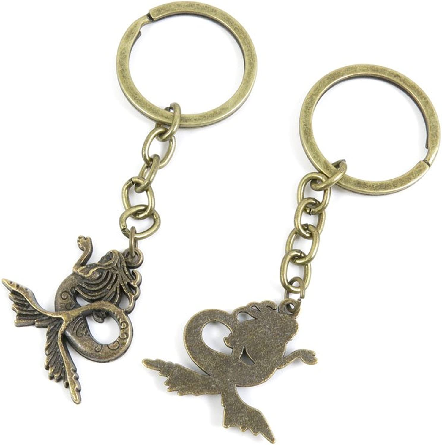 100 PCS Keyrings Keychains Key Ring Chains Tags Jewelry Findings Clasps Buckles Supplies R8KT0 Mermaid