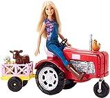 Barbie Métiers Coffret Ferme avec poupée fermière en salopette et tracteur rouge avec charrette et figurines d'animaux, jouet pour enfant, FRM18