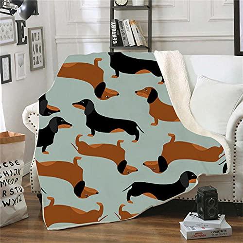 Manta Polar Perro Animal Verde Negro Amarillo Lana Super Suave Manta Caliente de Tejido Manta Sofa para Interior,Camping,sofá y sillón reclinable 70 cm x 100 cm