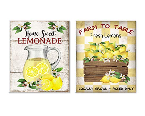 Set of 2 11x14 Lemons to Lemonade Canvas Prints