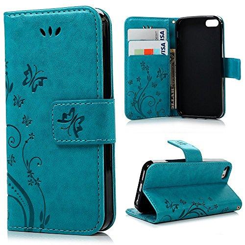 Preisvergleich Produktbild PU Leder Cover Tasche Case Schutz Hülle Handyhülle Bunt Painted Silikon Back Cover Bumper Schutz Etui Schale Schutzhüllen für iPhone 5 / 5s und iPhone SE