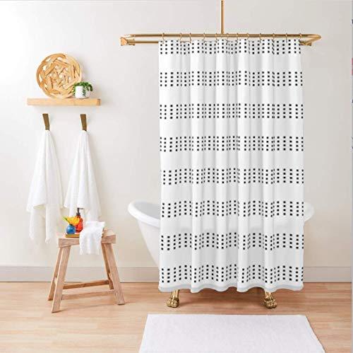 Boho Shower Curtain / Black and White Boho Shower Curtain / Boho Shower Curtain Standard Size 72x72 / Hooks Included with Boho Shower Curtain / Black and White Shower Curtain