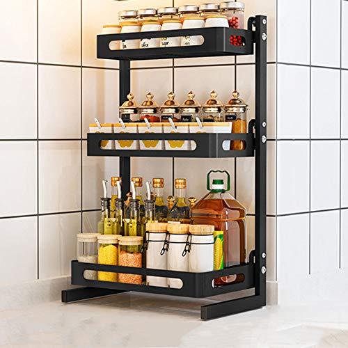 FEIYING Dreilagiges Küchengewürzregal Aus Edelstahl, Doppelstöckiges, Multifunktionales Gewürzregal(Size:Groß)