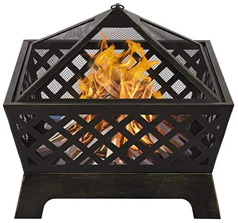 chensheng Square Outdoor Fire Pit Portable Fire Pit W/Flame-Retardant Spark Guard Chimenea for Outdoor Wood Burning Bronze 26 Inch