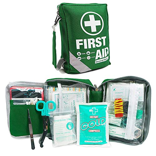 First Aid Kit -Compact First Aid Bag(175 Piece) - Includes 2 x Eyewash,Instant Cold Pack,Emergency Blanket, CPR Respirator for Home, Office, Vehicle,Camping, Workplace & Outdoor