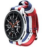 Estuyoya - Pulsera de Nailon Compatible con Samsung Gear S3 Frontier/Classic/Galaxy Watch 46mm Colores Bandera de Francia 22mm Ajustable Transpirable Deportiva Casual Elegante