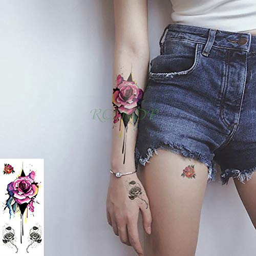 ljmljm 5pcs Impermeable Etiqueta engomada del Tatuaje de Shar Pei Perros Gatos Animales Tatto Etiquetas engomadas de Tatoo Tatuajes para la Muchacha del Cabrito G Hombres Mujeres Azul Oscuro 19x9cm