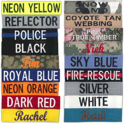 Northern Safari Custom Uniform Name Tapes, 56 Fabric Options, Different Font Styles Available in 5 Sizes!! Made in Wisconsin USA. Ships in 24 Hours!