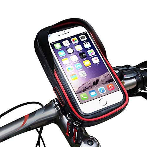 promise2301 Fietshouder voor mobiele telefoon, waterdichte houder, tas, fietstas, voorvak, navigatieframe, multifunctionele mobiele telefoonhouder, rood
