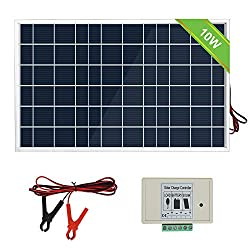 ECO-WORTHY 12V 10W solar collector system: polycrystalline PV panel with 3 wire and 30A battery terminals