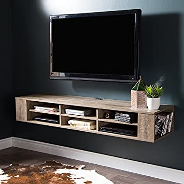South Shore City Life Wall Mounted Media Console, 66 , Weathered Oak