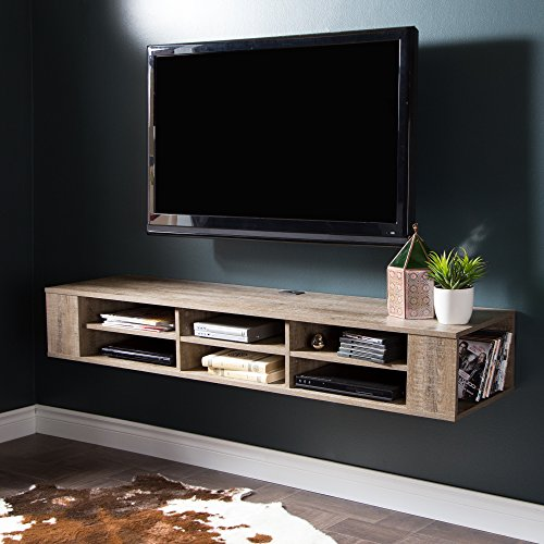 South Shore City Life Wall Mounted Media Console, 66', Weathered Oak