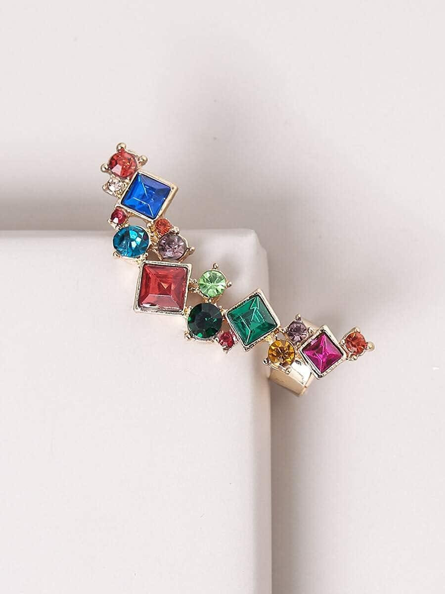 LCUY Hoop Earrings Color Rhinestone Inlaid Ear Climber (Color : Multicolor)