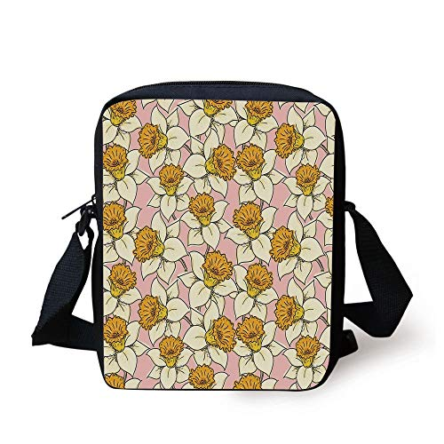 Yellow Decor,Sun Solar Hand Drawn Style Pattern with Little Spiral Spots Like Hot Summer Sun,Yellow Print Kids Crossbody Messenger Bag Purse