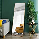 Somins Thickened Aluminum Alloy Frame Full Length Mirror 65'x27' Full Body Standing Mirror Mirror Large Rectangle Body Wall Mirror-Gold