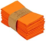 Ruvanti Kitchen Cloth Napkins 12 Pack 18 X 18 Inches Dinner Napkins Soft Comfortable Reusable Orange Napkins - Thanksgiving Napkins - Perfect Table Napkins / Fall Napkins for Family Dinners & Parties.