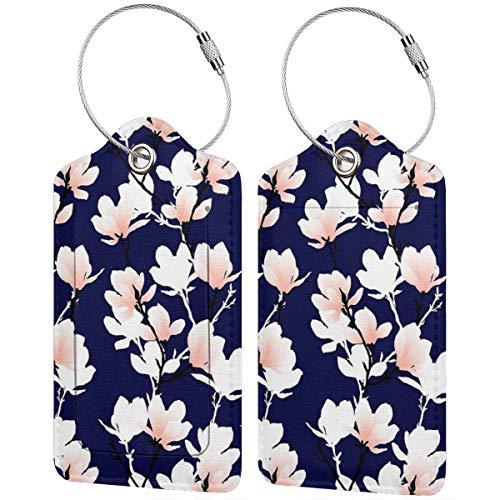 Magnolia Midnight - Set di 2 etichette in pelle per bagagli da viaggio con copertura privacy