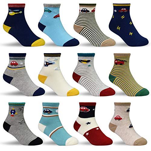 HYCLES Kinder Anti Rutsch Knöchel Socken - 12 Paar ABS Socken für 3-5 Jahre Baby Jungen Mädchen Kinder Kleinkind Säugling Neugeborenes Auto- und Flugzeug-stil