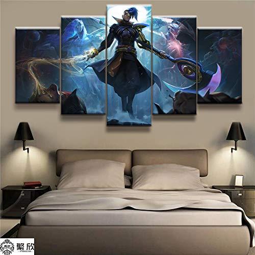 AMOHart Leinwanddrucke 5 Stück LOL League of Legends Shieda Kayn Poster Dekorative Wandkunst Drucke auf Leinwand Rahmen