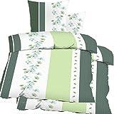 4-TLG. Biancheria da letto Seersucker 2 x 135 x 200 + 80 x 80 cm, verde bianco, motivo floreale, non necessita di stiratura, microfibra (60343)
