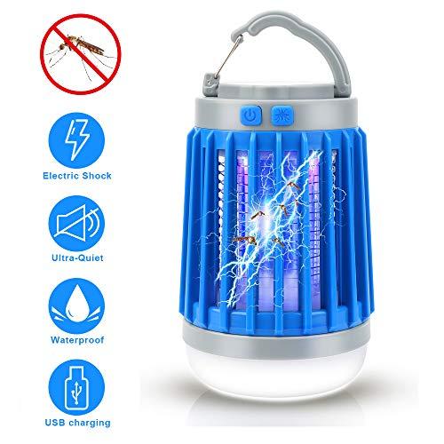 OVAREO Lampe Anti Moustique, 3-en-1Insecte Zapper Camping Lantern Lanterne Camping Lampe USB Killer Moustique Rechargeable pour Le Camping intérieur et extérieur Urgences