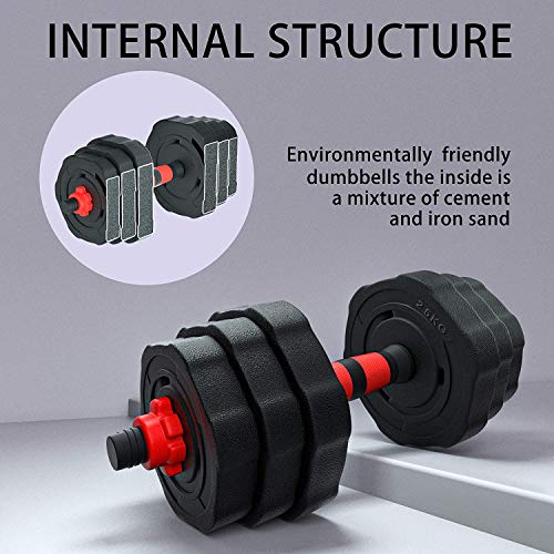 Arespark Adjustable Dumbbell Barbell, 33/55lbs Free Weights Fitness Barbell Set, Detachable Barbell Set Combination Weightlifting 3 in 1 Fitness Equipment with Connecting Rod for Gym Home Office