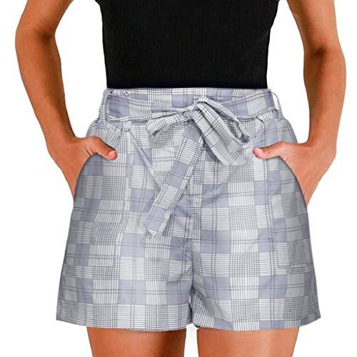Shorts Damen Sommer Locker Luckycat Kurze Hosen Damen Sale Karierte gestreifte Damen Shorts Hose Sommerhosen Pants Hosen (Grau, X-Large)