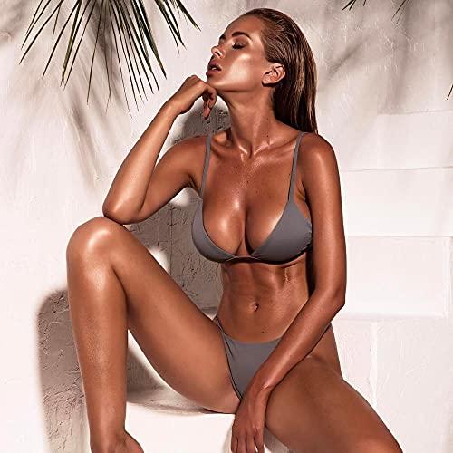 Sexy Mujer Verano Bañador Retro Cintura Alta,Conjunto de Bikini Push up Sexy sólido,Traje de baño de Dos Piezas con Cuello Halter de Cintura Baja-Grey_Small,Impresión Inferior Traje de baño Bikini