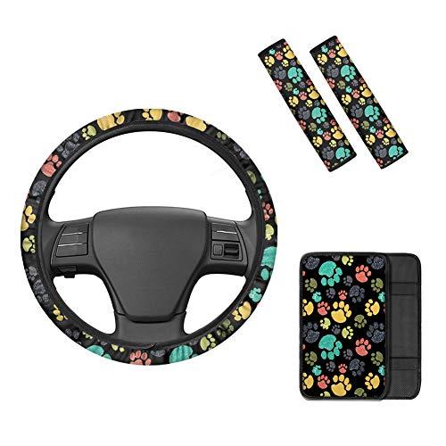Belidome Kawaii - Juego de fundas para volante de coche con 2 almohadillas para cinturón de seguridad, funda para reposabrazos de coche, accesorios coloridos para la mayoría de SUV, camiones, sedán