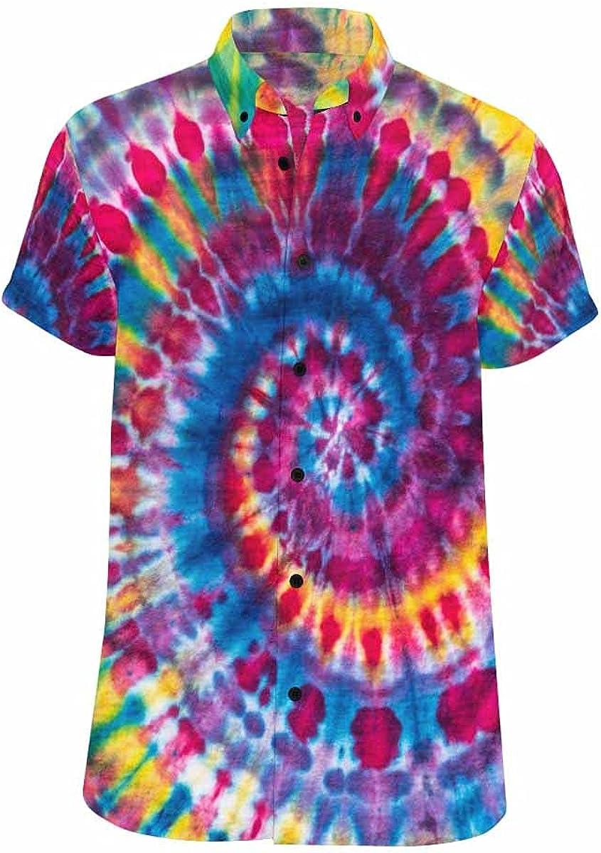 InterestPrint Ethnic Tie Dye Summer Relax Shirts Hawaiian Button Beach Casual Shirt for Men