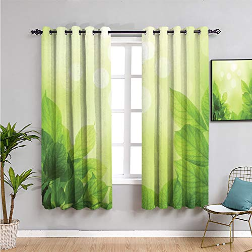 SONGDAYONE green Curtains for bedroom, Curtains 84 inch length soft green bokeh background with beech leaves ecology growth garden seedling Maintain good sleep W84 x L84 Inch green light green