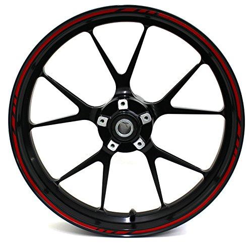 """Felgenrandaufkleber GP-Design 16 Teilig Komplett-Set -Finest Folia passend für 17 Zoll & 16\"""" 18\"""" 19\"""" Felgen Motorrad Auto Fahrrad (Rot)"""