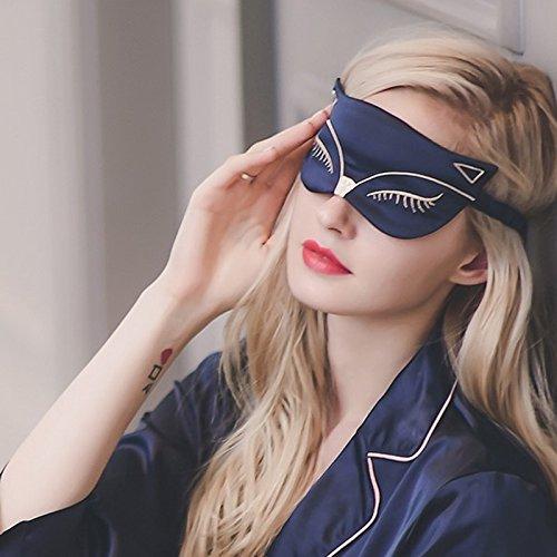 Masque d'oeil de sommeil de soie, Double-côté lissant Mulberry Silk Eyeshade, Sangle réglable, Chat Fox sexy pour le voyage, Relax, Nap, Les femmes à la mode, les hommes