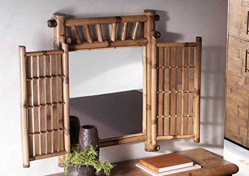 Außergeöhnlicher Bambusspiegel Wandspiegel Spiegel Bambus Tabanan klappbar Bett