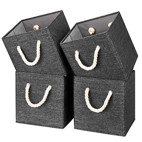 i BKGOO - Cubo de almacenamiento plegable de tela de lino negro, plegable, resistente con asa de cuerda de algodón para el hogar, la oficina y el guardería de 10.5 x 10.5 x 11...