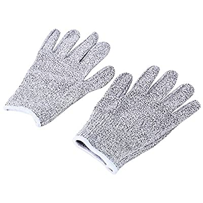 GLOGLOW 1 Pair Cut Resistant Butcher Glove, Safety Kitchen Cuts Gloves Stabproof Elastic Fiber Mesh Butcher Gloves S