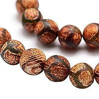 Tibet DZI Achat Buddha Perlen 8mm Natur Effloresce Edelstein Rund Schwarz Tibetanischer Beads Halbedelstein Edelstein Steinperlen Schmuckperlen Schmuckstein Perle Zum Fädeln für DIY Kette Basteln G759